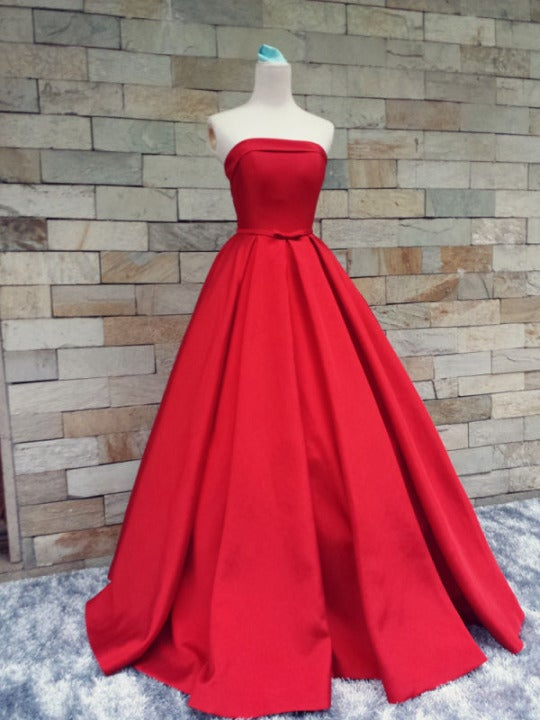 Beautiful Handmade Red Prom Gown , Red Prom Dresses, Prom Dresses