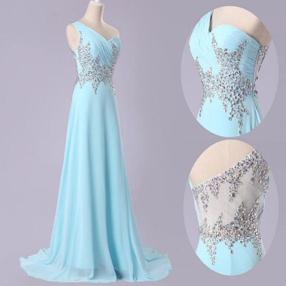 Glam Blue Beaded Handmade Long Prom Dress , Prom Dresses
