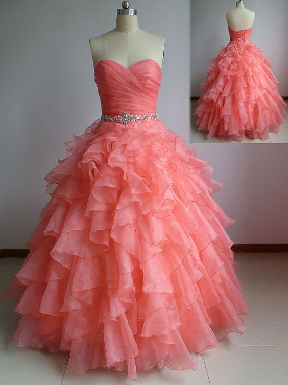 Charming Handmade Coral Organza Ball Gown Prom Dress , Coral Forma Gowns