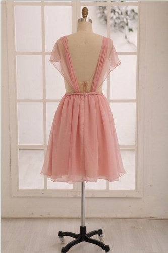 Beautiful Light Pink Short Backless Prom Dress, Bridesmaid Dresses 2016