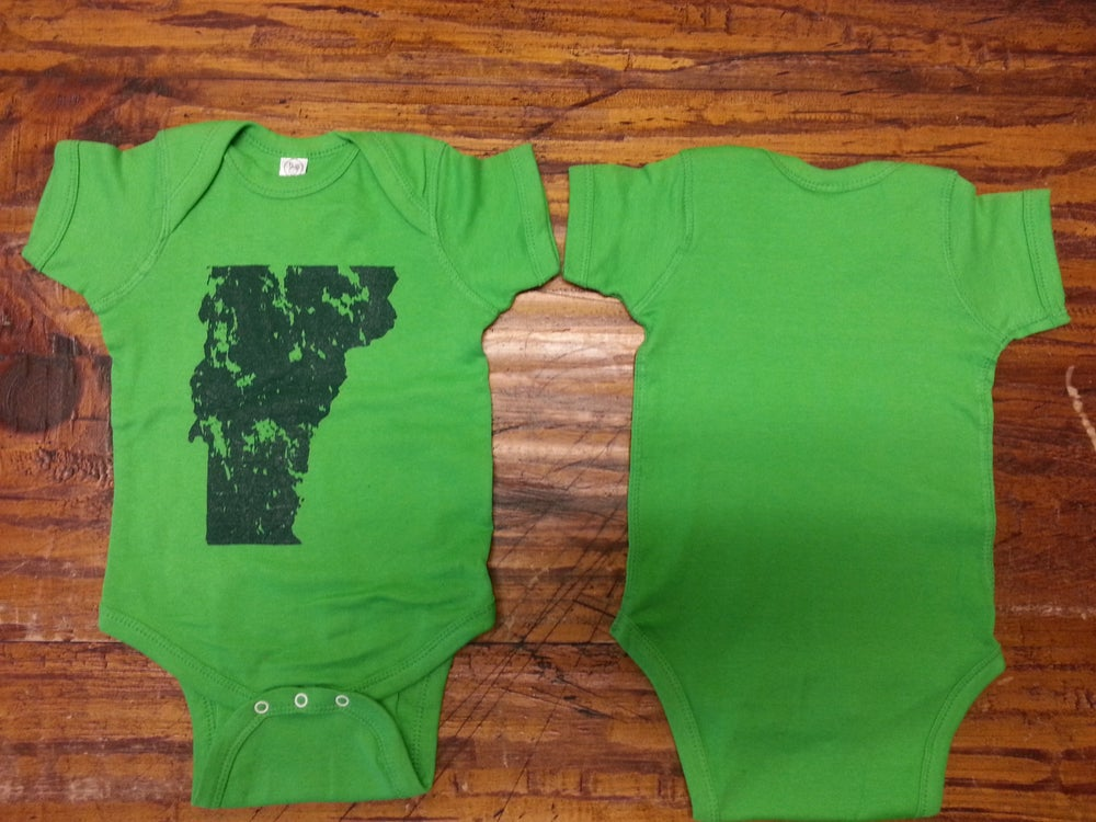 Image of Vermont Onesie - VT Distressed State Bodysuit - Toddler clothing - Vermont clothes - Vermont clothes
