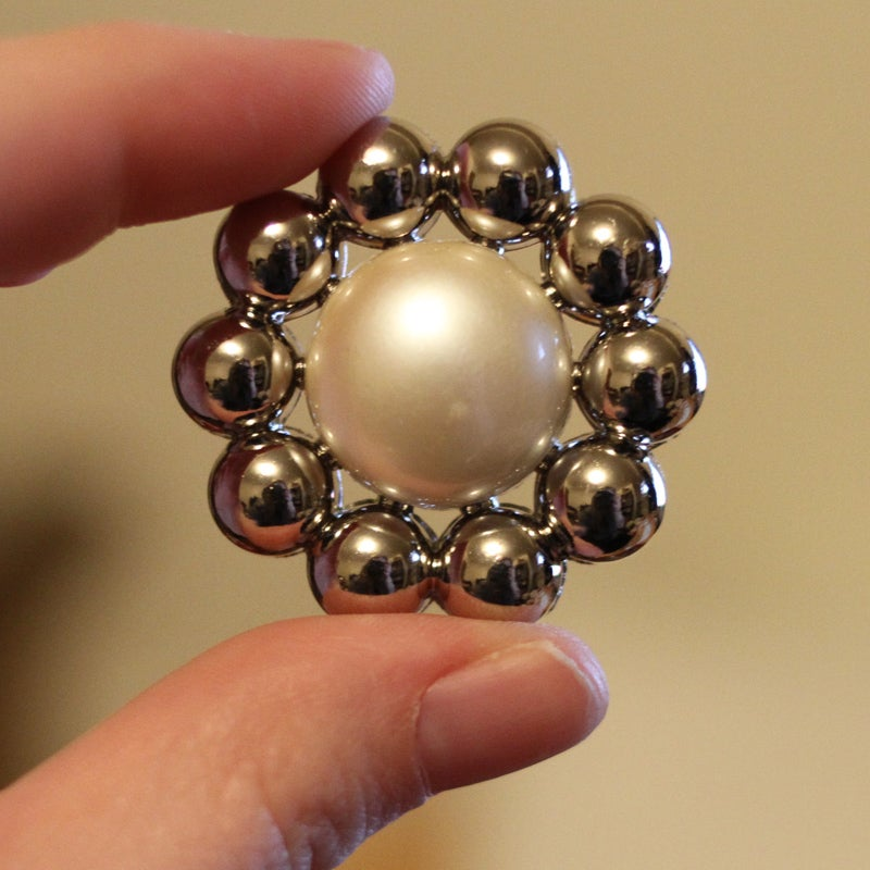 """Image of Big Silver Pearl Plugs (sizes 1""""-1 3/8)"""