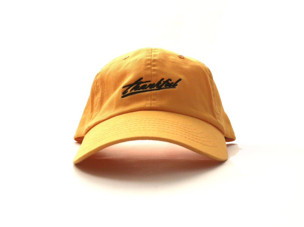 Image of low profile THANKFUL SIGNATURE HAT (MUSTARD)