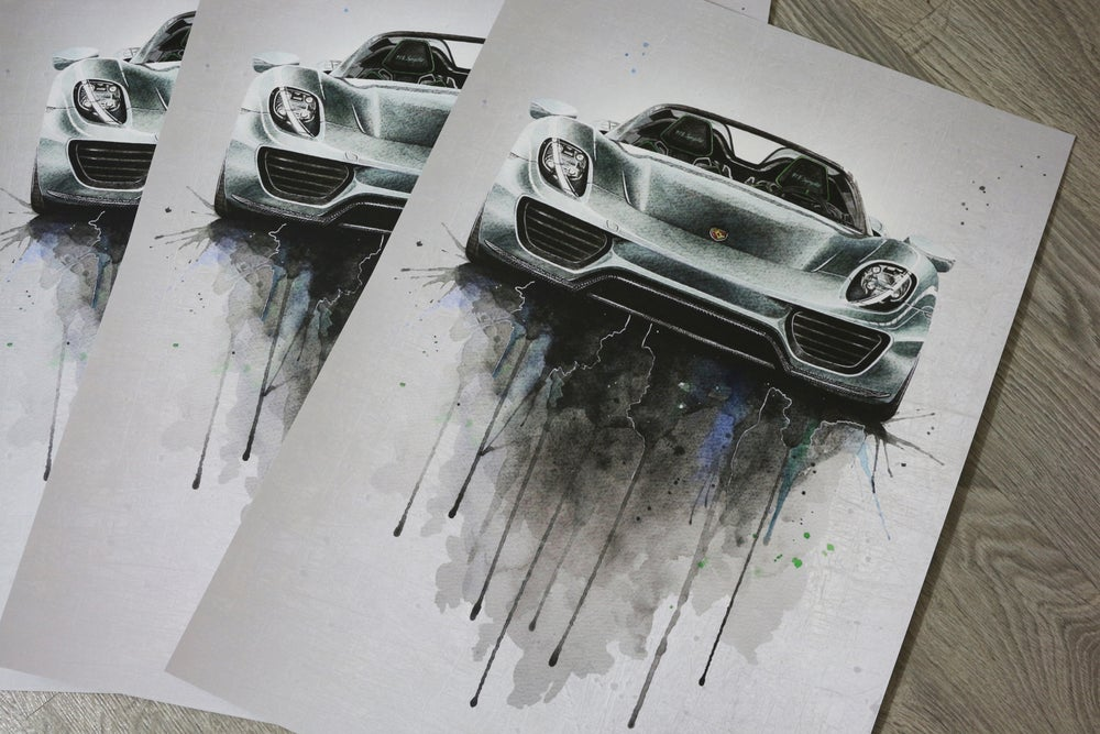 Image of Porsche 918 Watercolour Poster Print