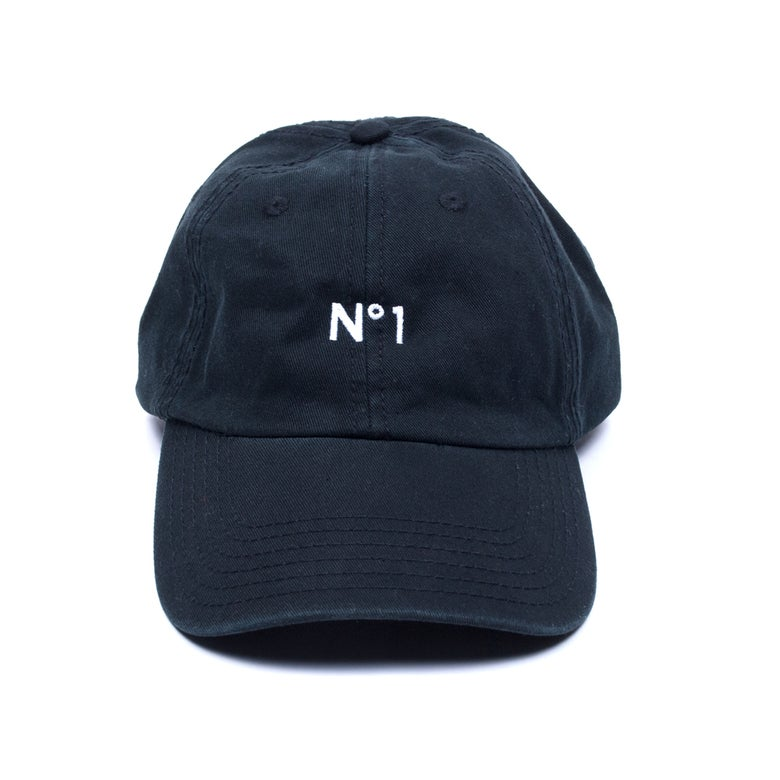 "Image of ""No. 1"" Low Profile Sports Cap - Black"