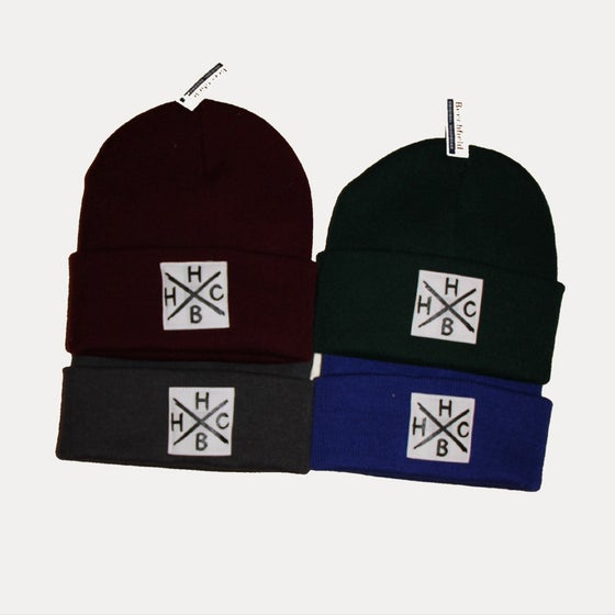 "Image of beenie ""HBHC"" // grey.green.blue.bordeux"