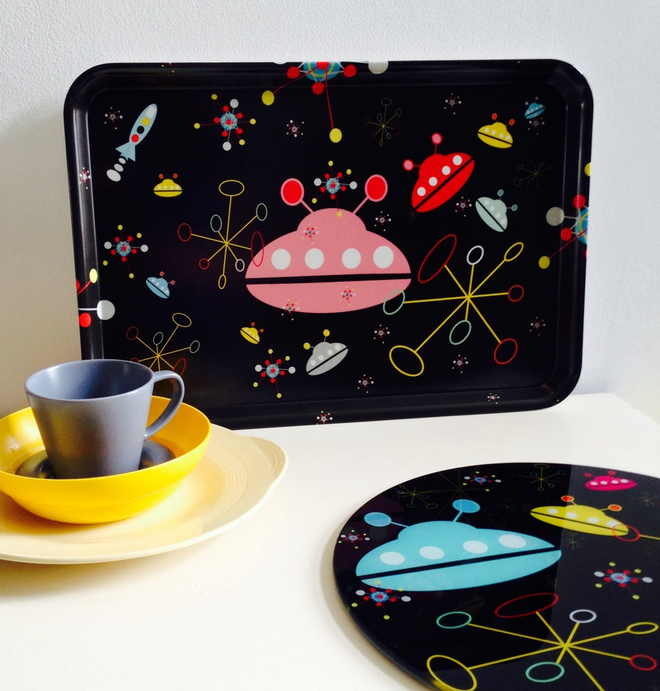Image of SPACERETRO GALAXY MELAMINE SERVING TRAY FOR 'ROCK N ROLL' FANS