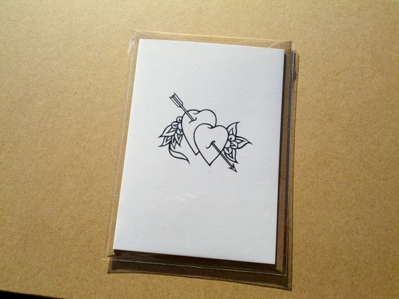 Image of A6 Letterpress Valentines Card - Black Hearts, tattoo style