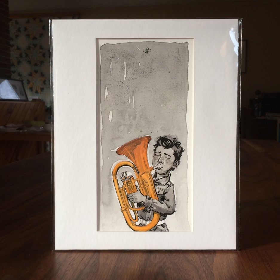 Image of Sketch - Boy with tuba