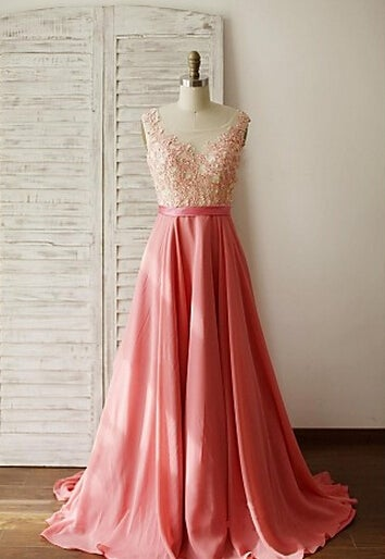 Beautiful Pink Handmade Long Prom Gown with Lace Applique, Pink Prom Gowns