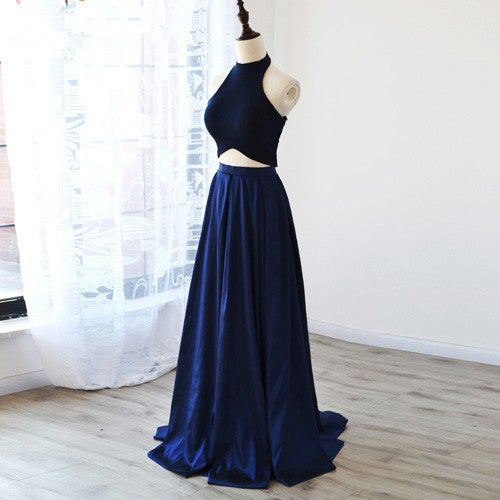Beautiful Handmade Two Piece Blue Prom Dresses, Prom Dresses 2016, Evening Gowns