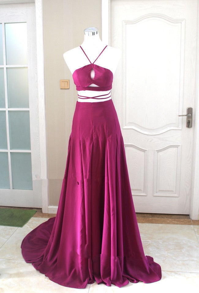 Lovely Two Piece Handmade Chiffon Prom Gown 2016, Prom Dresses 2016, Evening Gowns