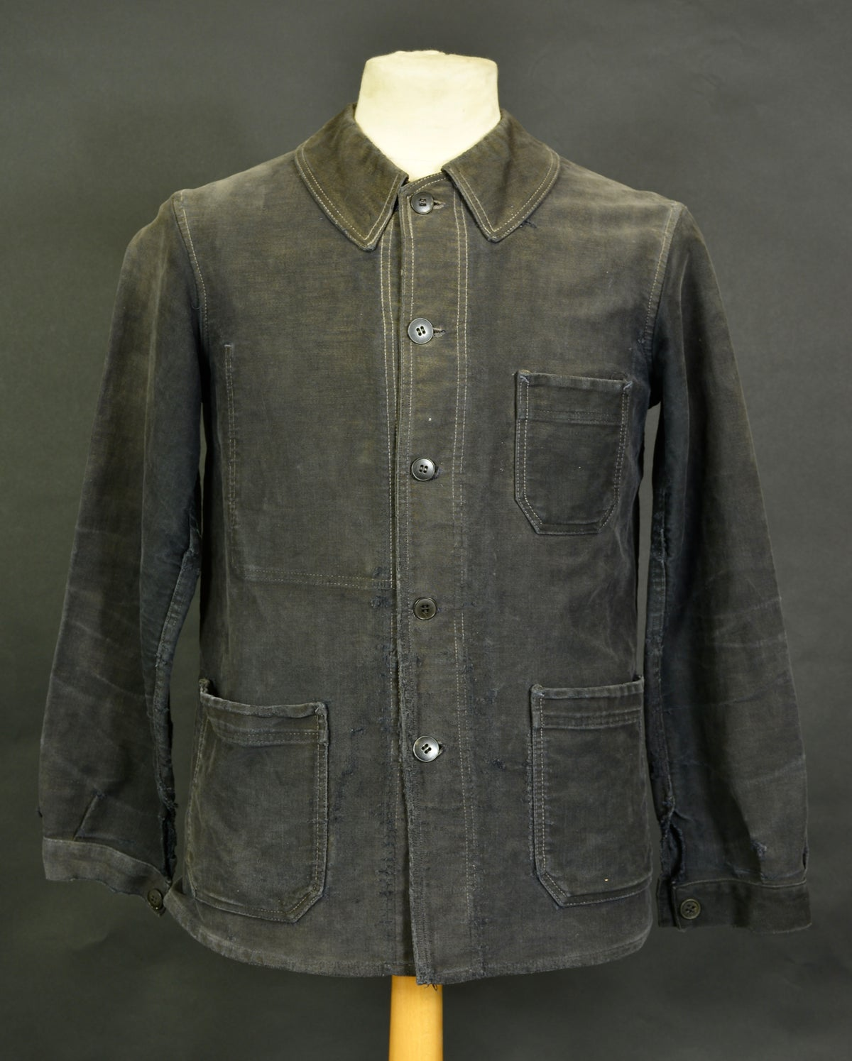 Image of 1930'S FRENCH BLACK MOLESKIN WORK JACKET FADED 1