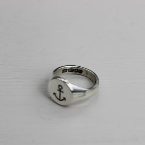 Image of men's signet ring with anchor