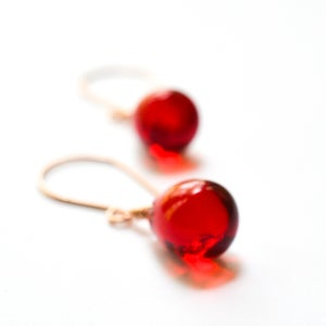 Image of Red glass drop earrings