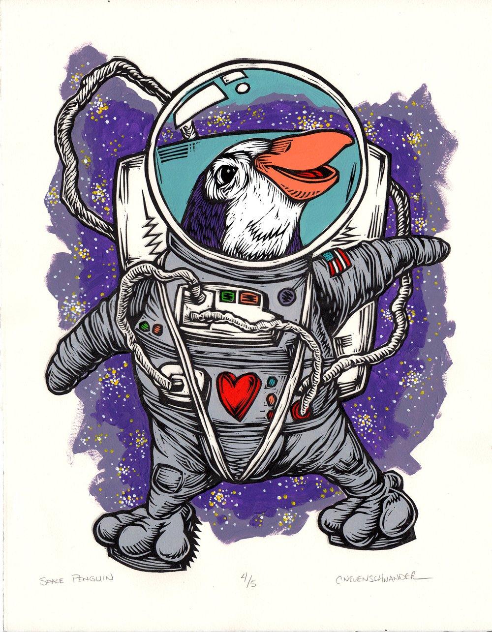 Space Penguin Print