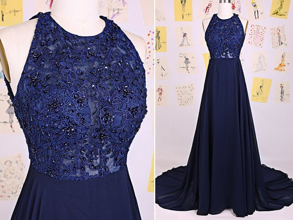 Beautiful Halter Lace Beaded Prom Dress 2016, Blue Prom Dresses, Prom Gowns