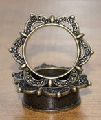 Image of Antique Brass Ear Tunnel - Mandala Flower Petals