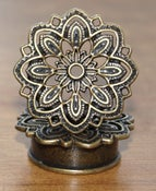 Image of Antique Brass Ear Tunnel - Vintage Mandala Flower
