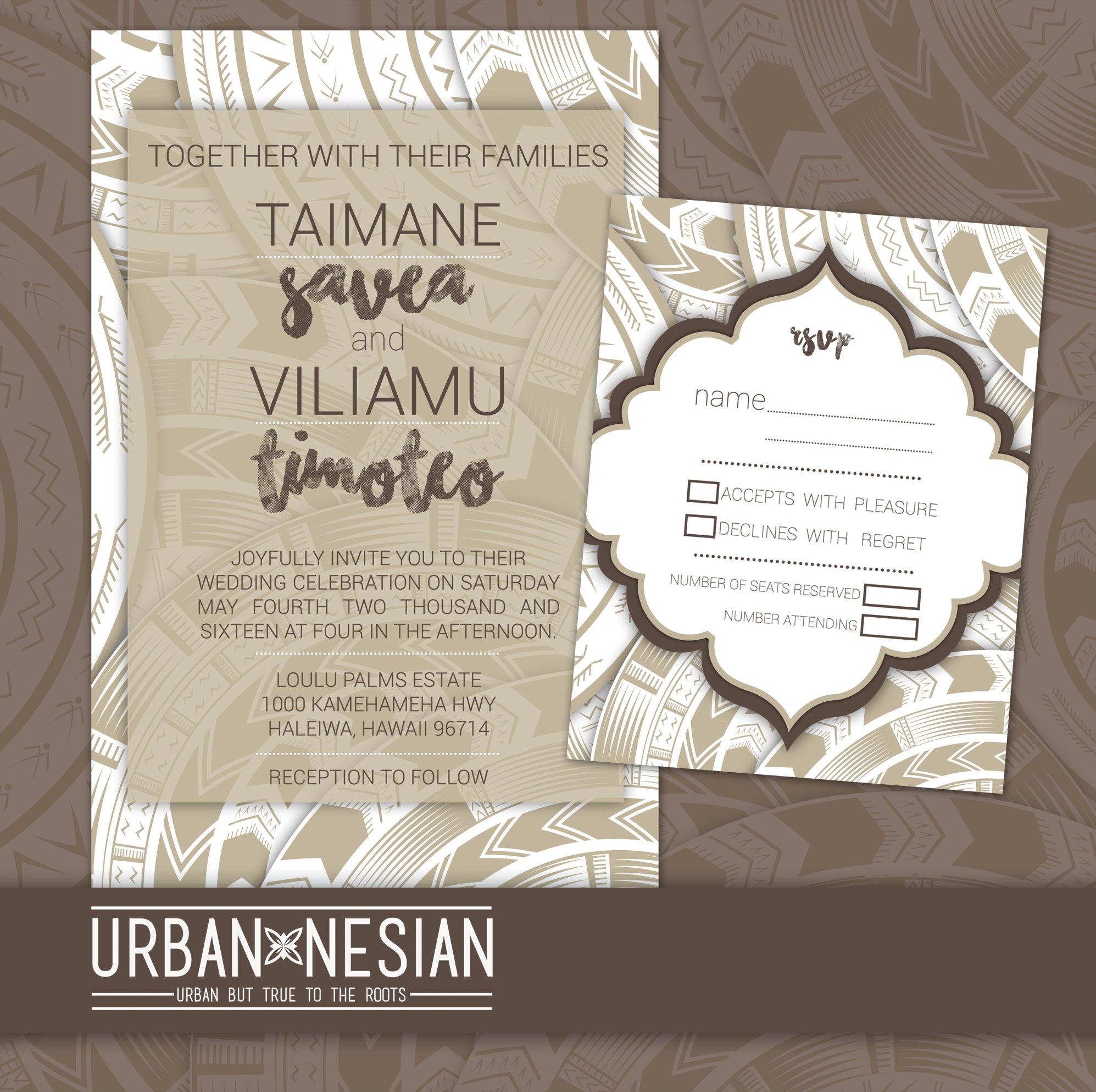 Urbannesian Samoan Tatau Wedding Invitation Rsvp Card Grey