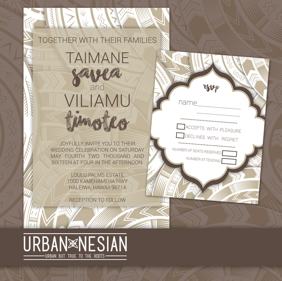 Image of Samoan Tatau Wedding Invitation & RSVP Card (GREY)
