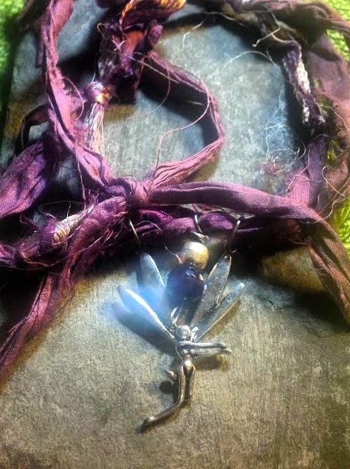 Image of Whimsical Fairy Raspberry Hand Dyed Silk with Amethyst and Silver Bead