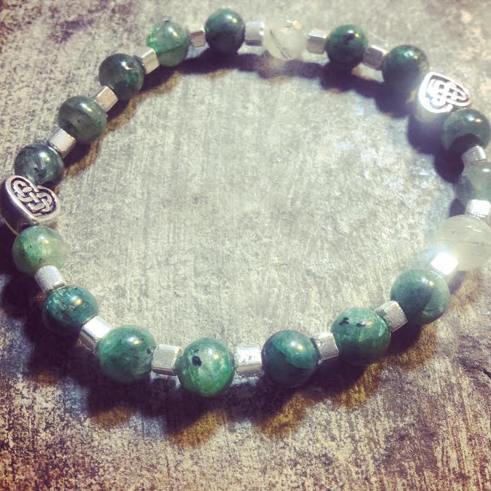 Image of  Unconditional Love ~Green Kyanite and Green Prehnite with Celtic Beads
