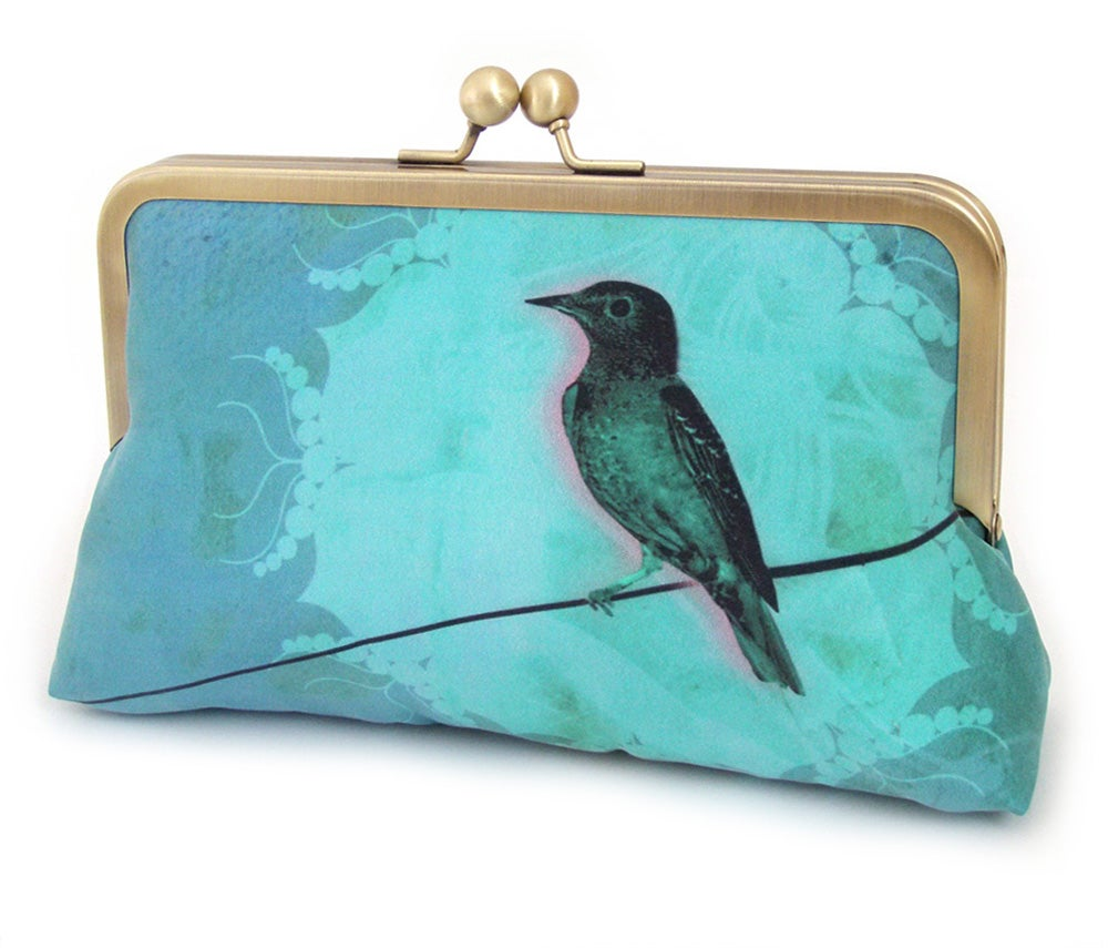 Image of Blue bird clutch bag, turquoise silk purse