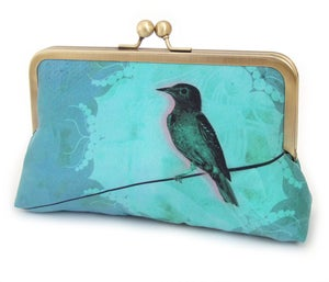 Bird on a wire - original silk-lined clutch bag, teal, blue, and green - Red Ruby Rose