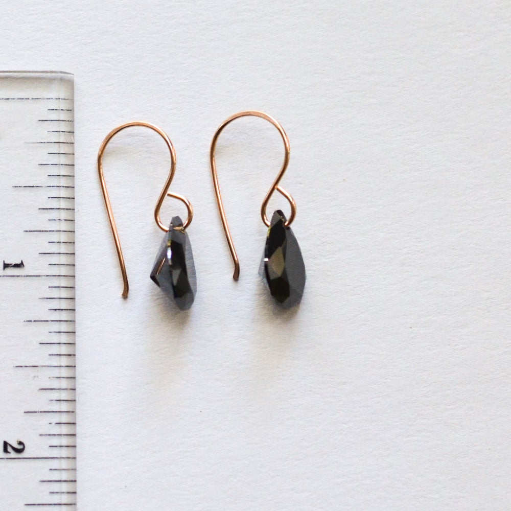 Image of Black cubic zirconia pear earrings