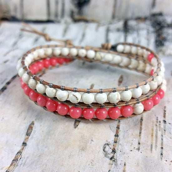 Image of Coral and Magnesite Beads on Natural Leather Double Wrap Bracelet W-COMGNat-01