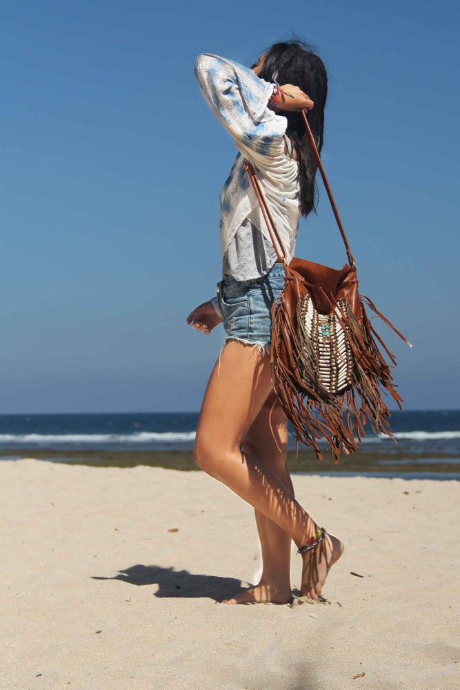 Image of Light brown Indian Leather Bag, Large size