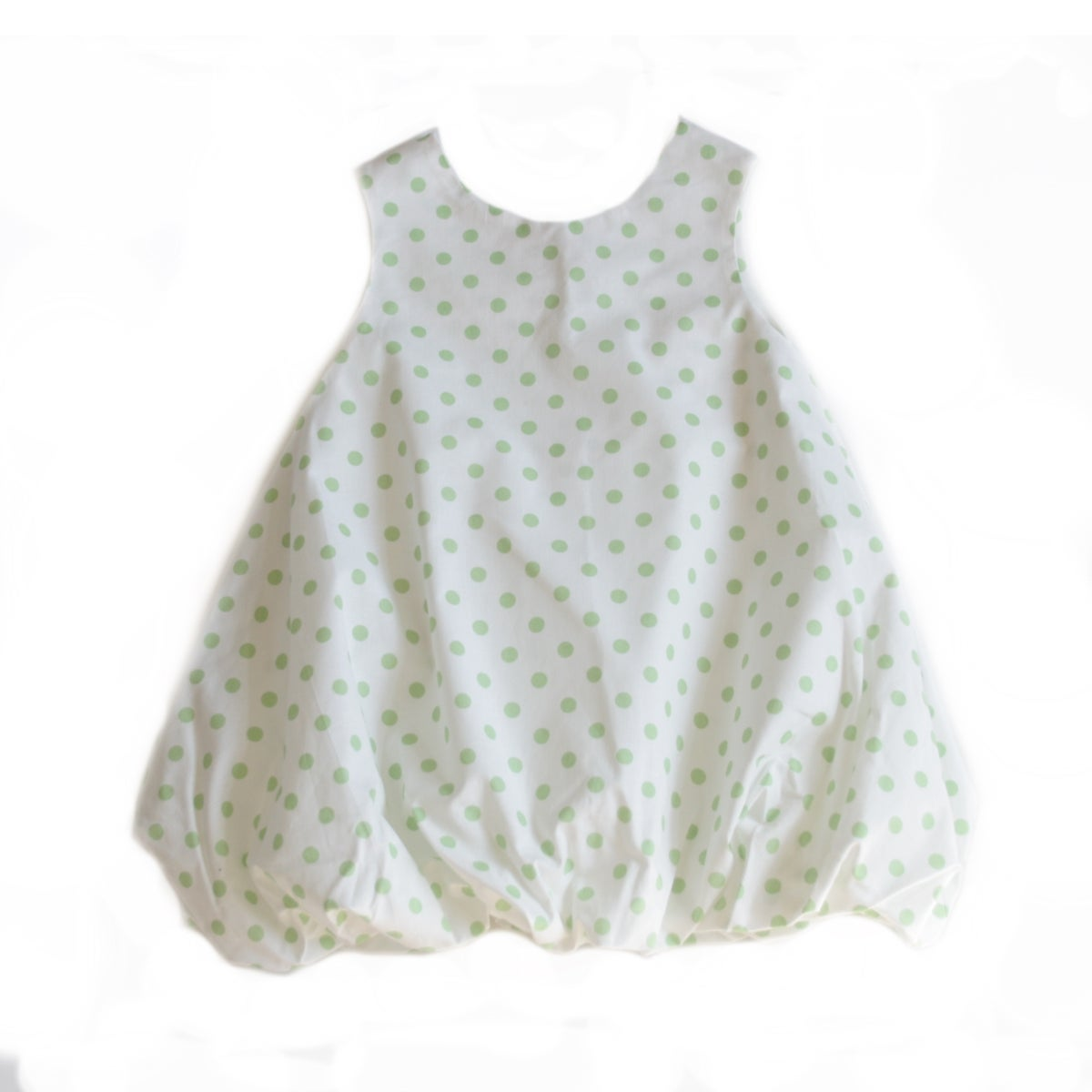 Balloon Dress-green dots