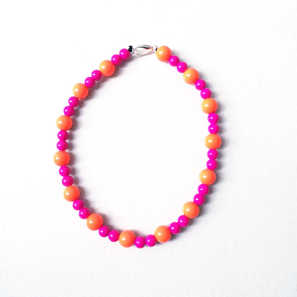 Image of Clementine ~ Orange & Hot Pink Beaded Dog-Necklace