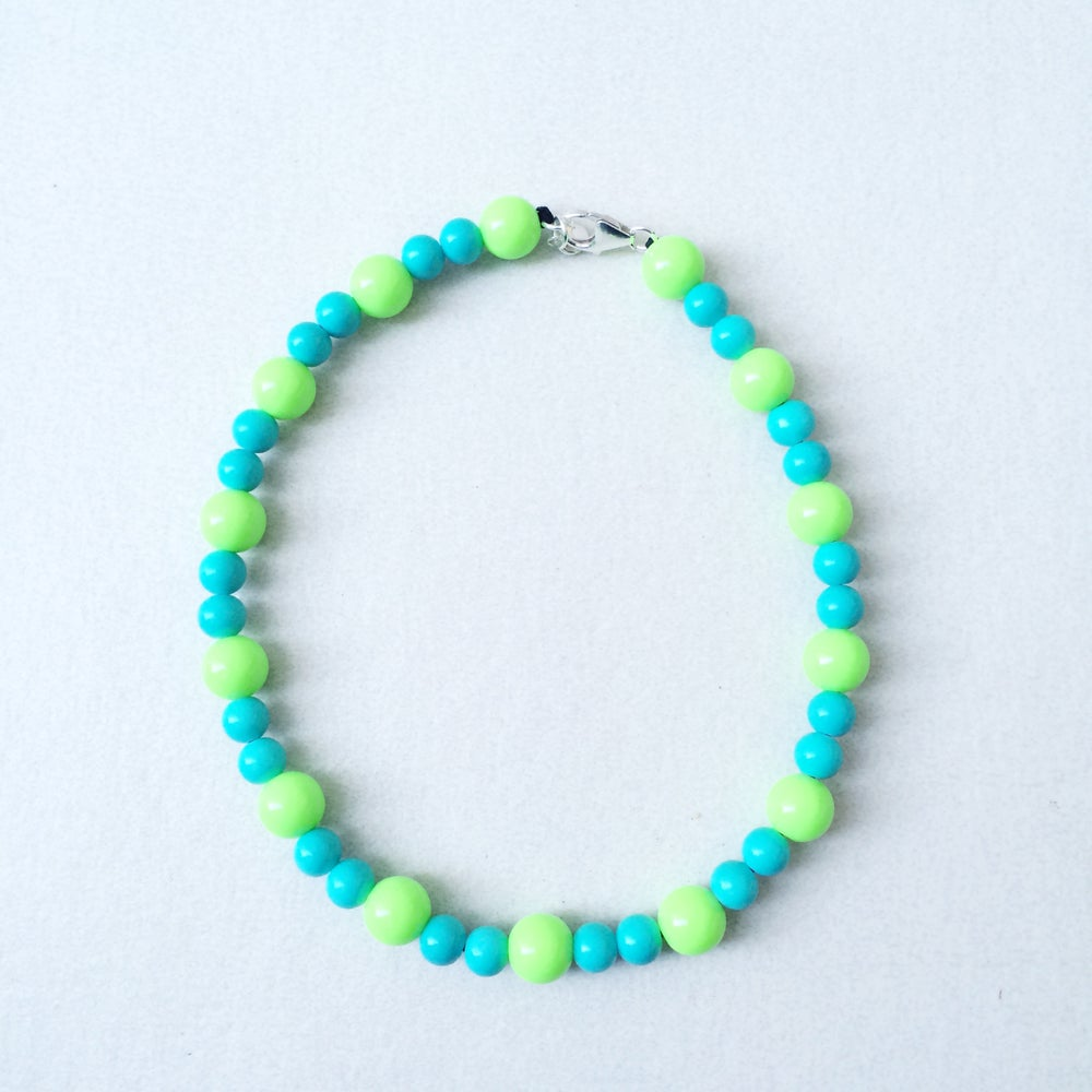 Image of Aqua ~ Lime Green & Turquoise Beaded Dog-Necklace