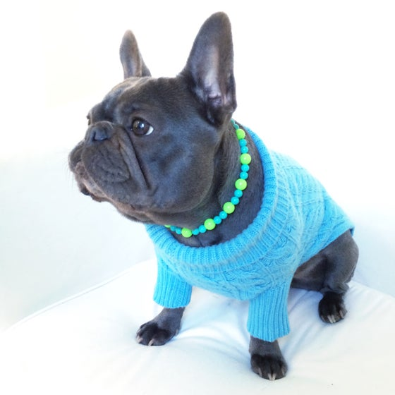 Image of Aqua ~ Lime Green & Turquoise Beaded Dog-Necklace