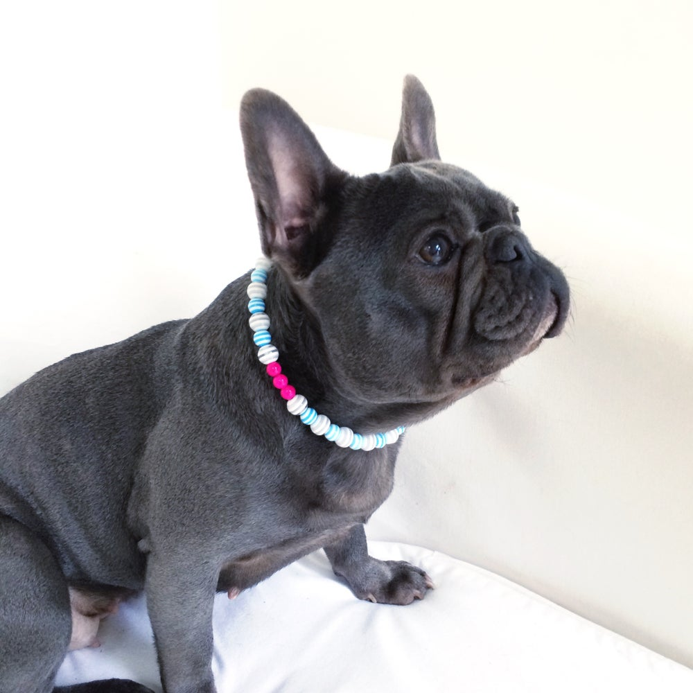Image of Poppy ~ Blue & White Stripe & Hot Pink Beaded Dog-Necklace