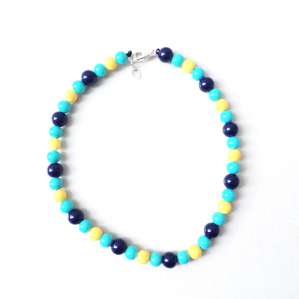 Image of Margate Blue ~ Navy, Yellow & Turquoise Beaded Dog-Necklace