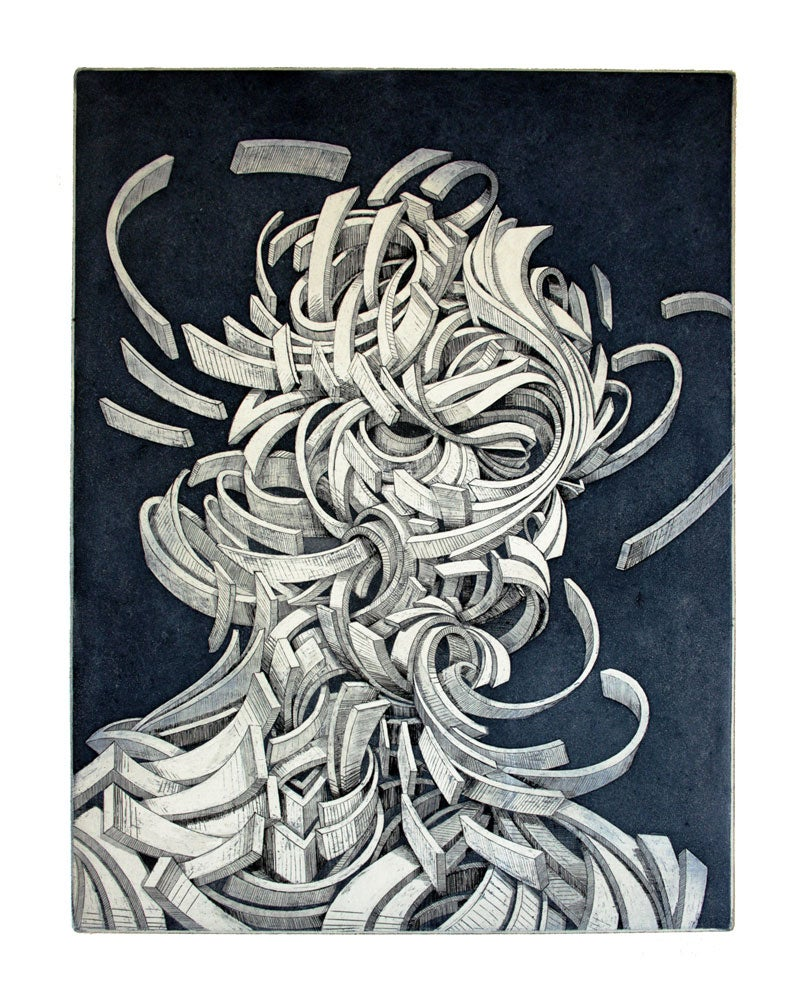 "Image of ""Shock Wave 1"" (Onde de Choc 1): Etching/Eau-forte, 50X65cm."