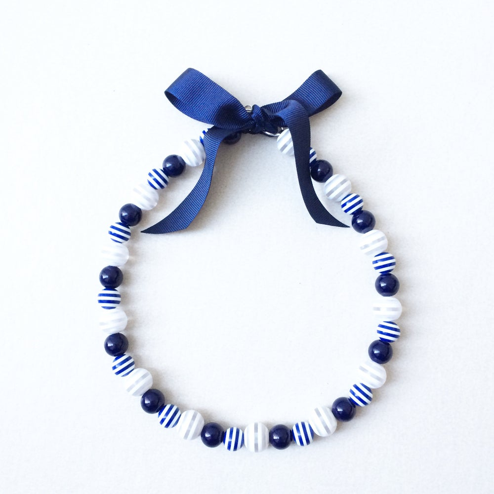 Image of Arabella ~ Navy, White striped Ribbon Tie Beaded Dog-Necklace