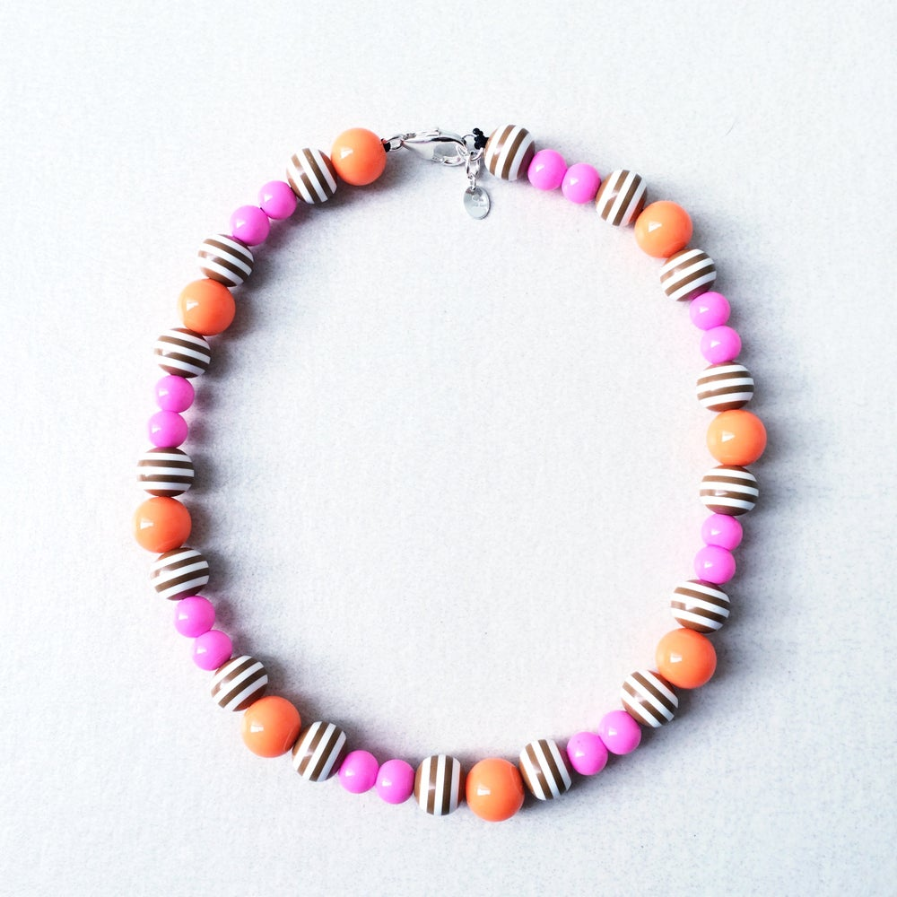 Image of Isabella ~ Coffee Striped, Orange & Pink Beaded Dog-Necklace