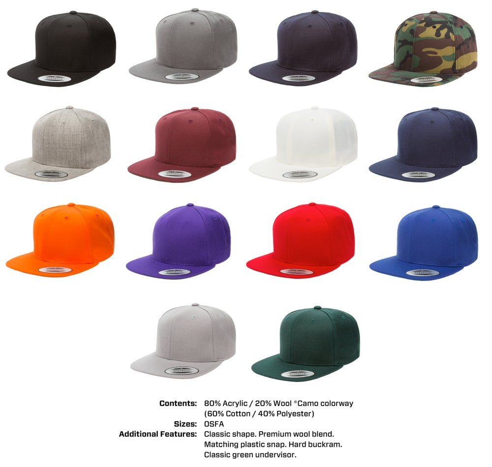 46e85ed6cb3 SoCal Stitches — Yupoong Classic Snapbacks - 12 Hats + Embroidery