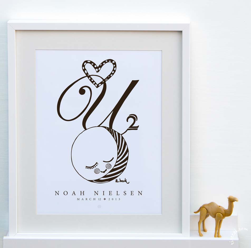 Image of Personalized poster - love you 2 the moon & back