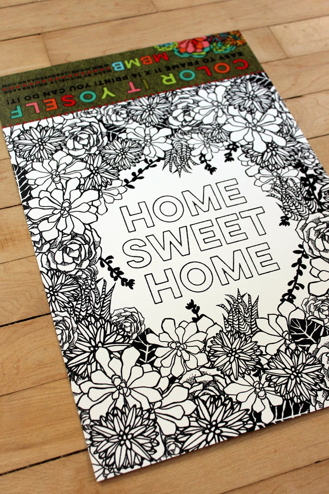 Image of Color it Yoself-Home Sweet Home-11 x 14 print