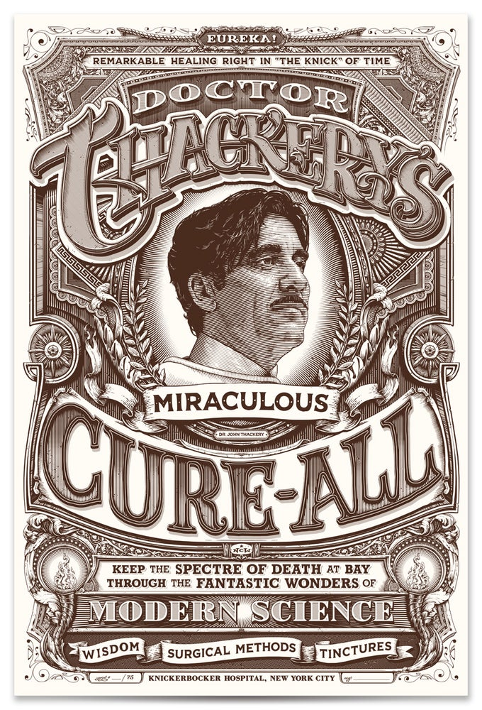"Image of ""Doctor Thackery's Miraculous Cure-All"" Knick-themed screenprints"