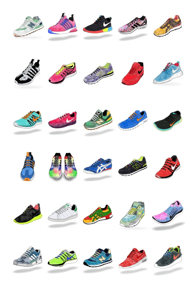 Image of Watercolor Sneaker Premium Poster Print (Limited)