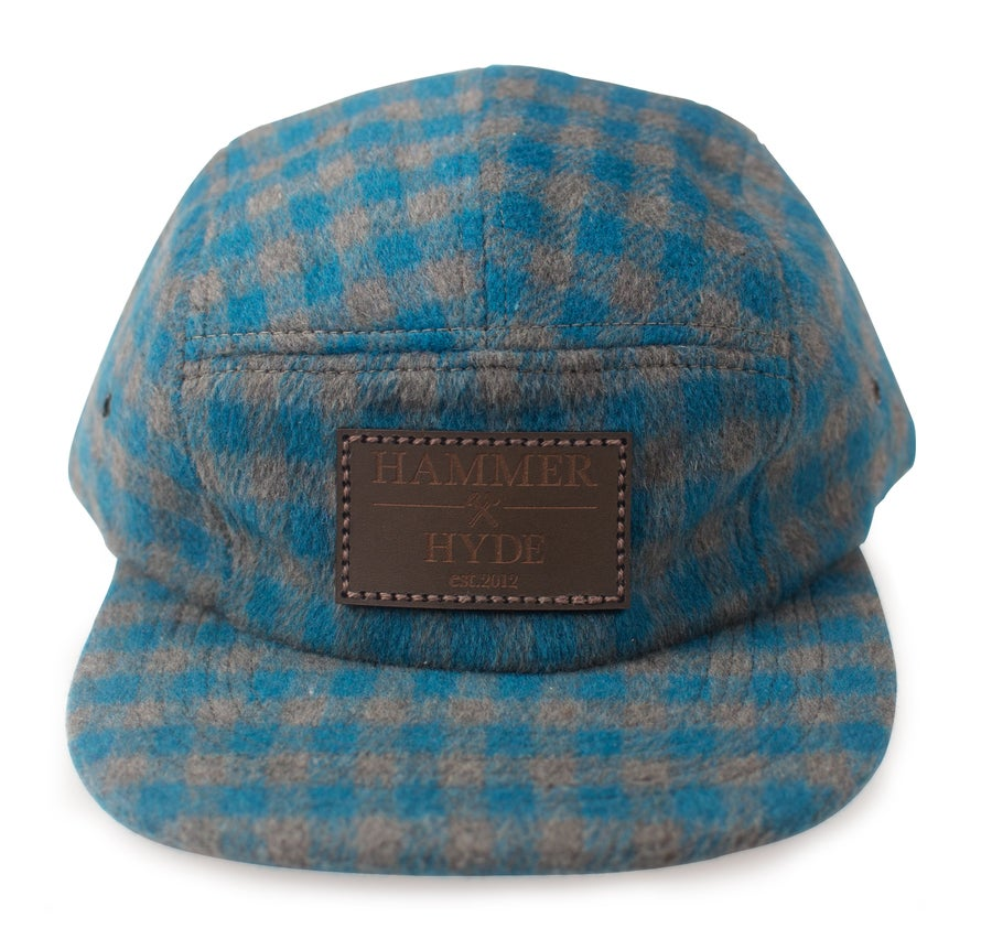 Image of Blue & Grey Buffalo Plaid 5 Panel Hat