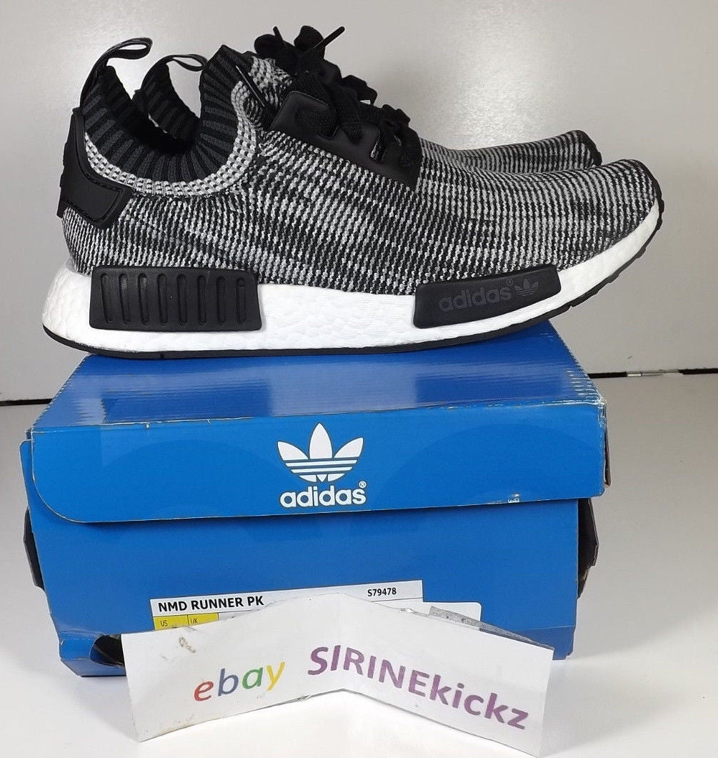 Image of Adidas Nmd Runner Primeknit R1 PK Core Black White Grey S79478