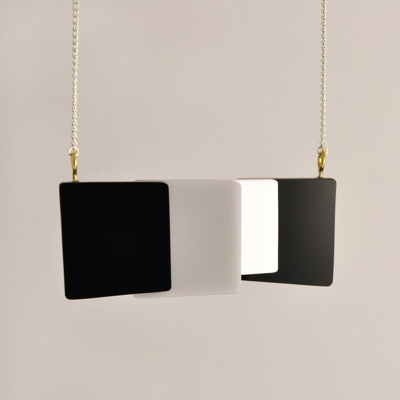 Image of Monochrome Geometric Perspex necklace