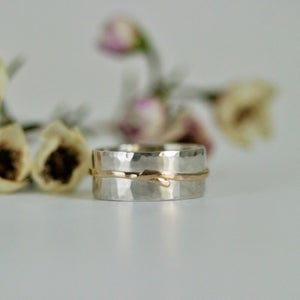 Image of Silver and gold wrapped textured ring